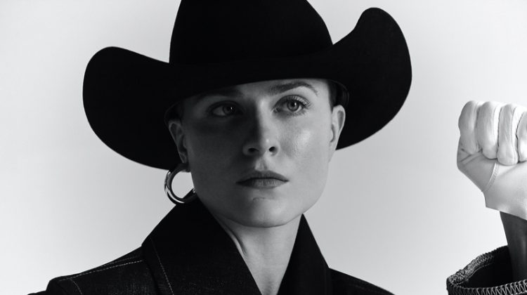 Evan Rachel Wood models Colovos denim with Palace Costume hat