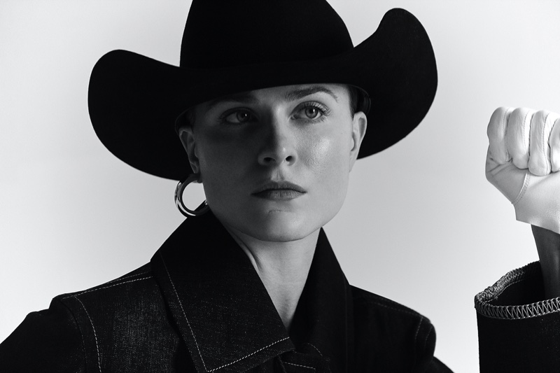 Evan Rachel Wood models Colovos denim with Palace Costume hat and gloves