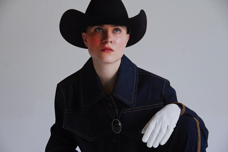 Actress Evan Rachel Wood wears Colovos denim with Palace Costume hat and gloves