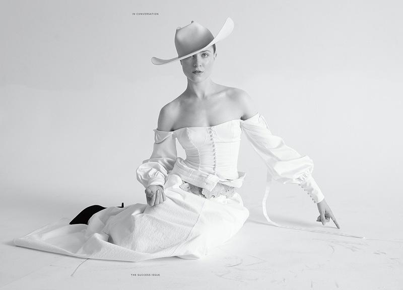 Dressed in white, Evan Rachel Wood embraces western style