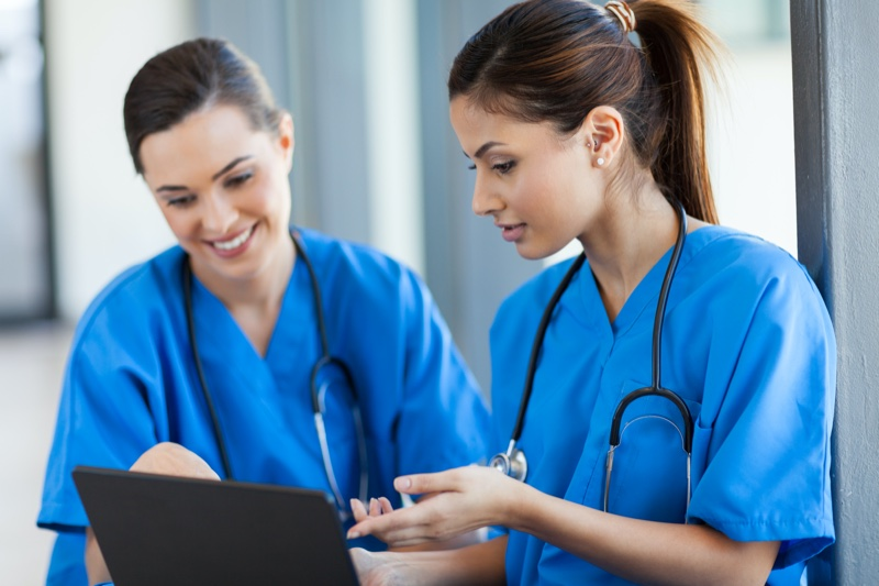 Female Nurses Blue Scrubs