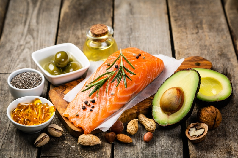 Foods Healthy Fat Nuts Salmon Olives Avocado