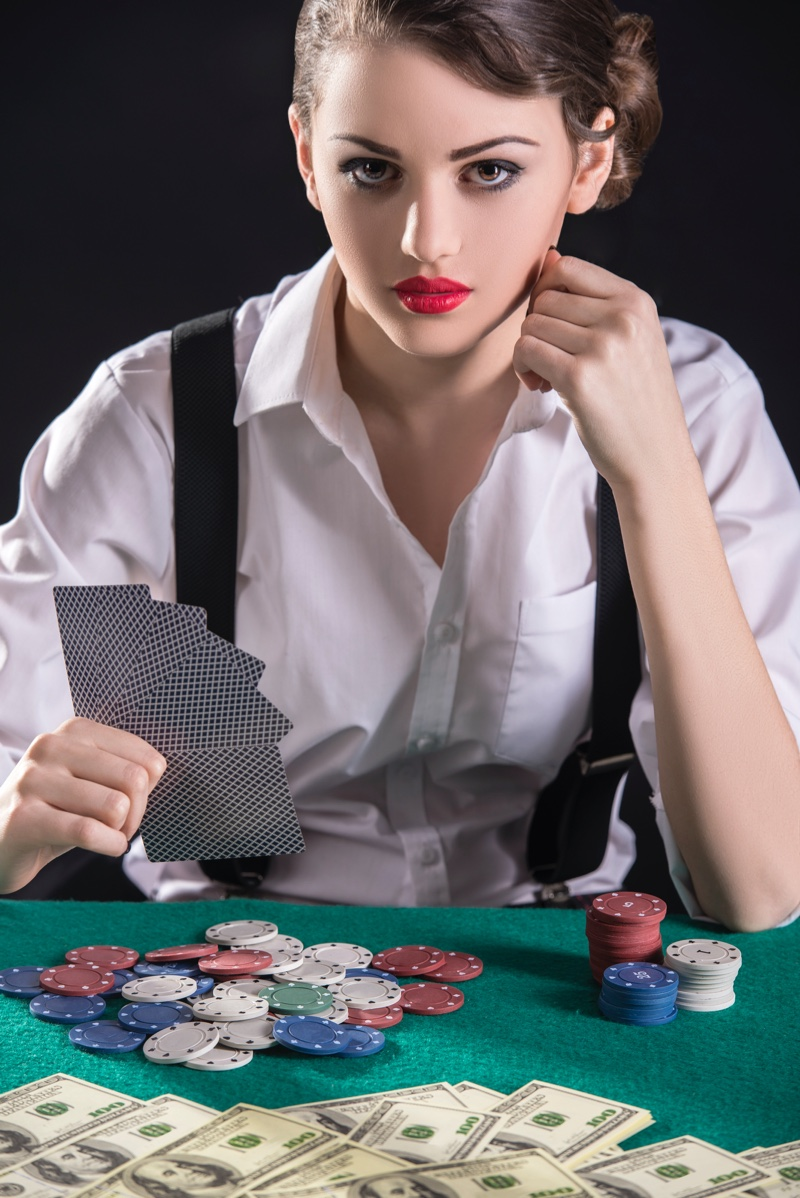 Gangster Vintage Woman Gambling Playing Cars