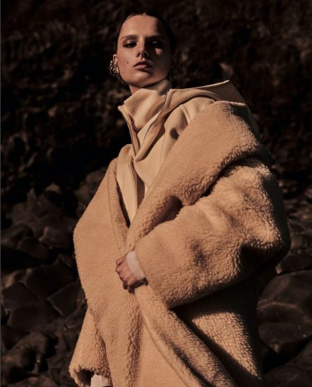 Giselle Norman Poses in Winter Outerwear for Vogue Japan