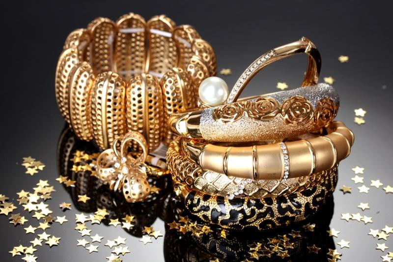 Gold Bangle Bracelets Closeup Jewelry