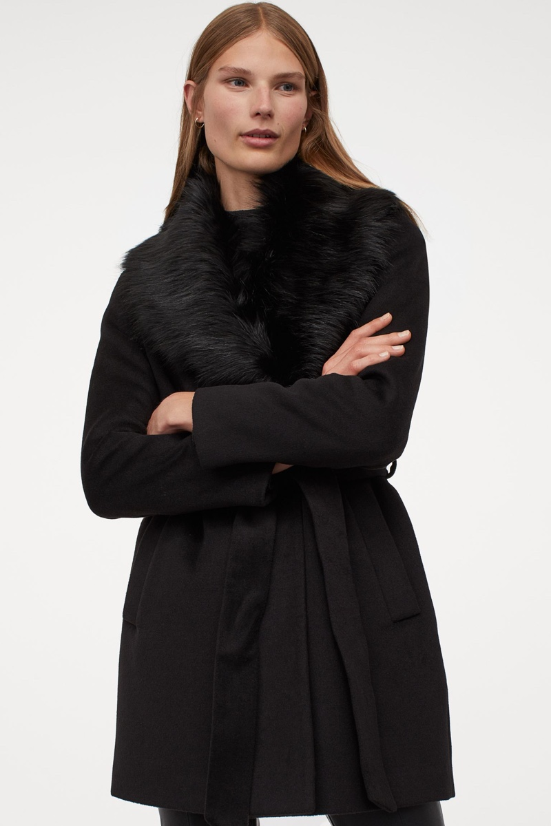 H&M Coat with Faux Fur Collar $79.99