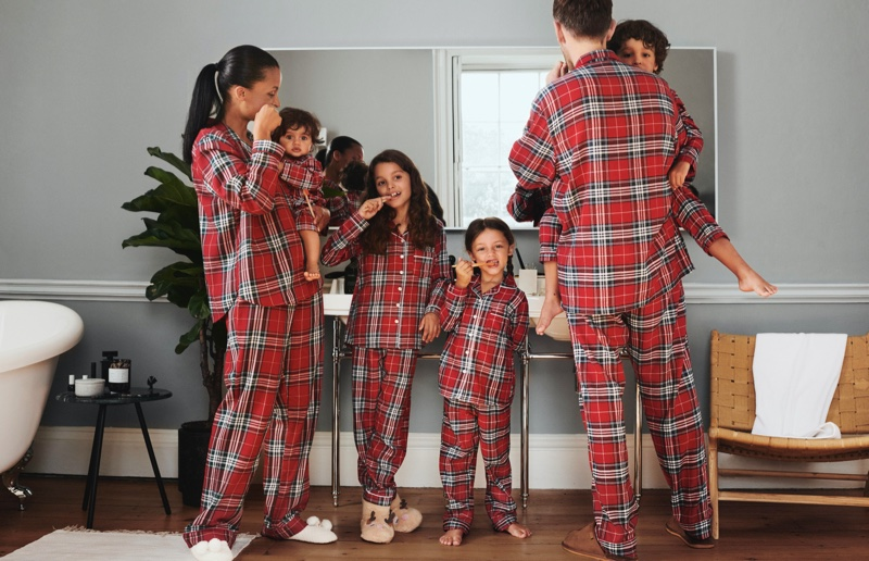 Plaid pajama styles stand out in H&M Holiday 2019 campaign