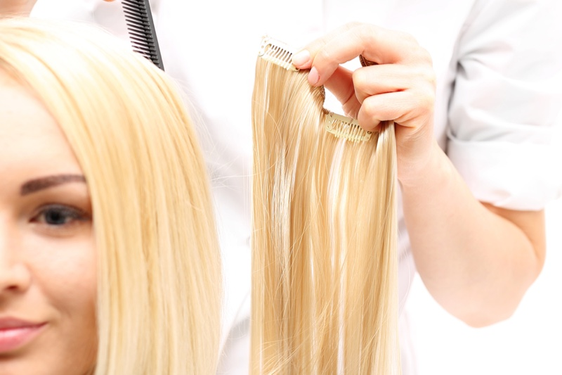Hair Extensions Blonde Closeup