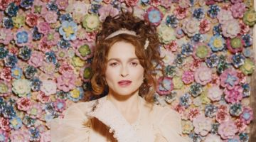 Helena Bonham Carter wears Simone Rocha dress with Abbie Walsh headband and gloves