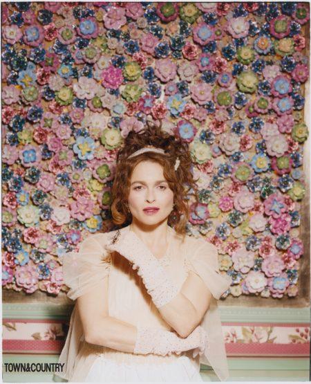 Helena Bonham Carter wears Simone Rocha dress with Abbie Walsh headband and gloves