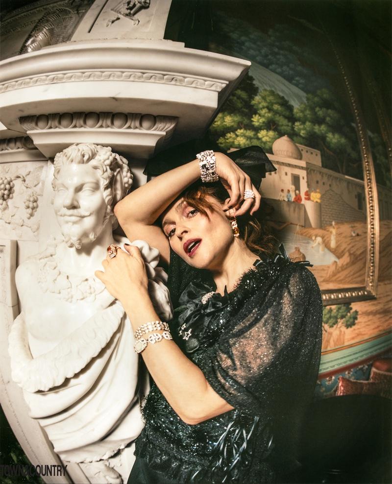 Helena Bonham Carter wears glittering gems and jewelry