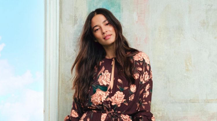 Jessica Gomes models dress from Johanna Ortiz x H&M collaboration