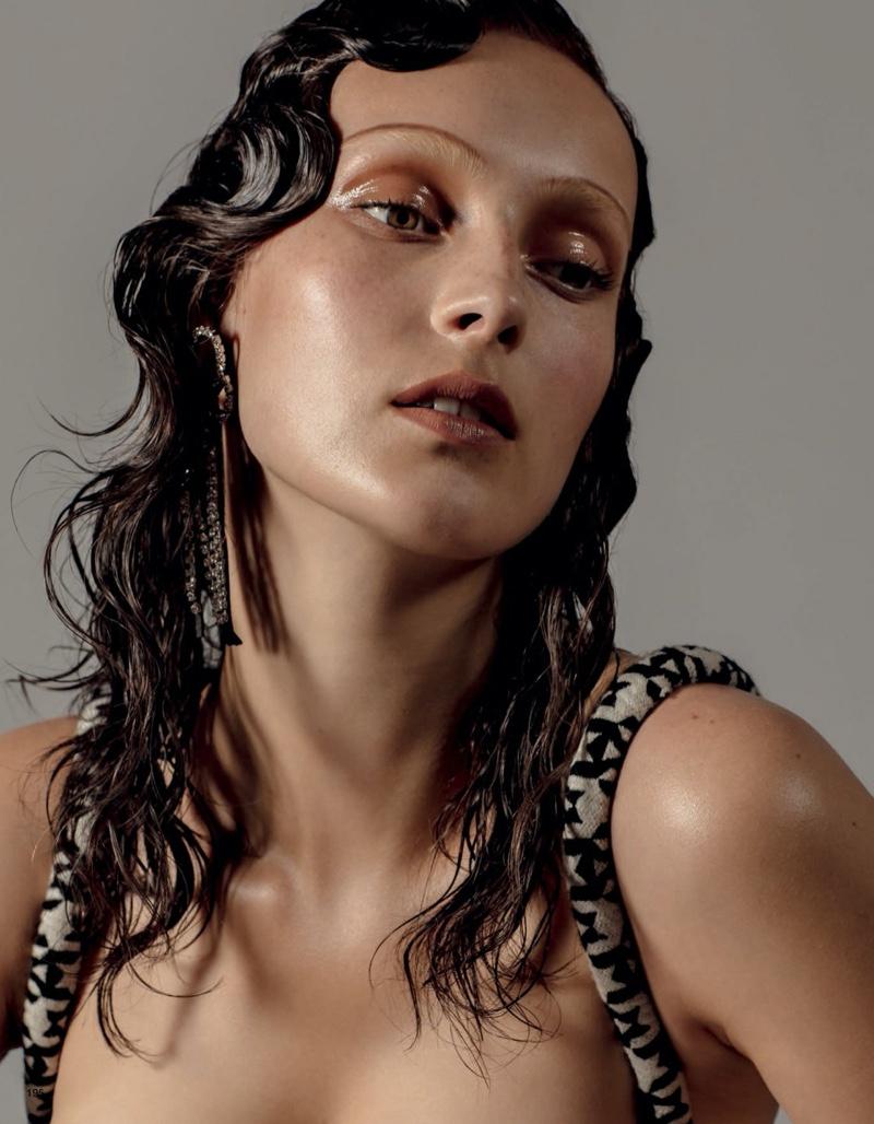 Julia Bergshoeff Models Retro Makeup Looks for Vogue Japan