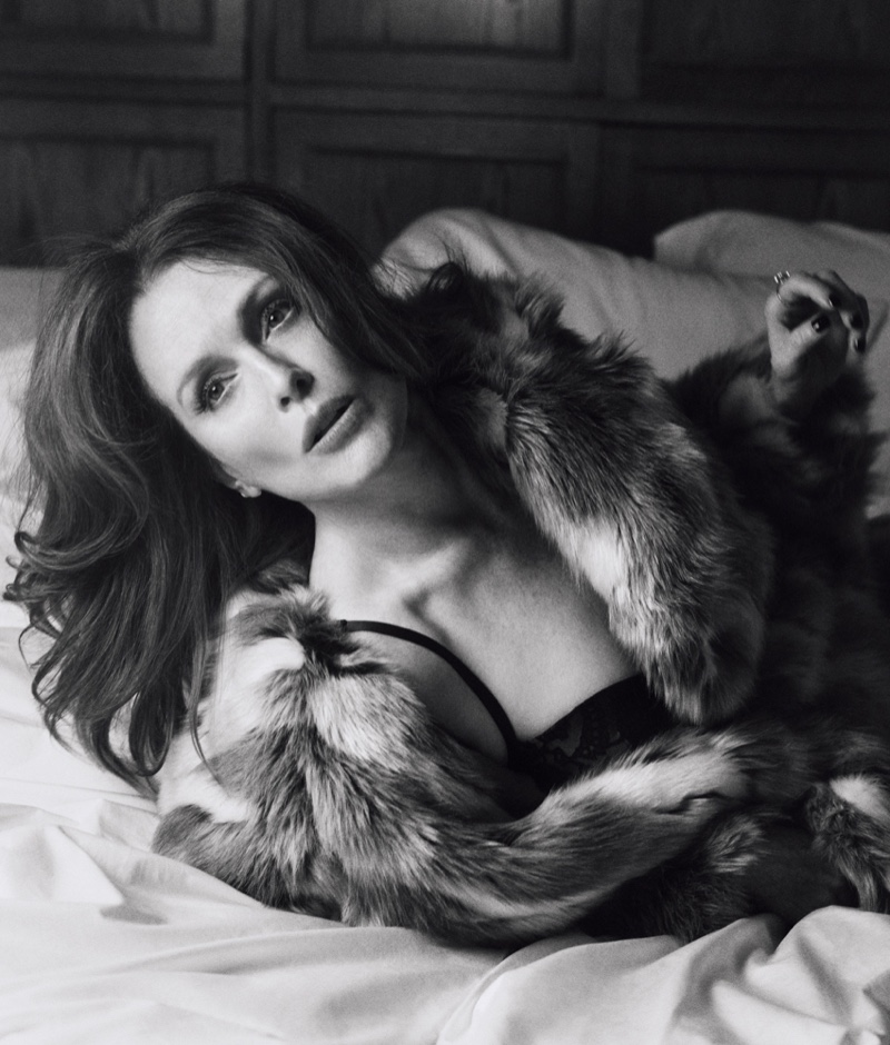 Julianne Moore poses in black and white for this shot