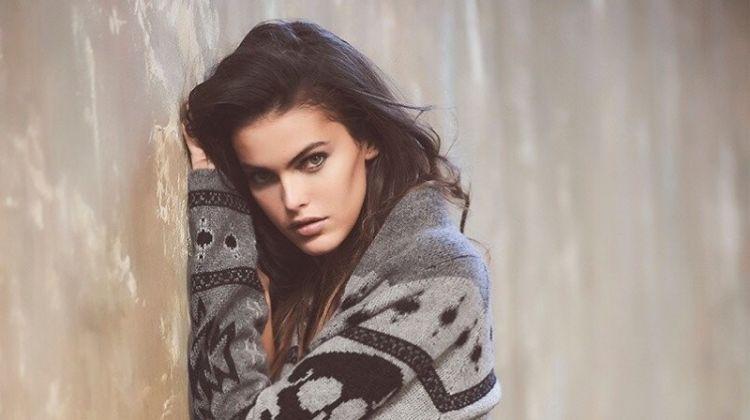 Model Kamila Hansen poses in Willa cardigan from Skull Cashmere