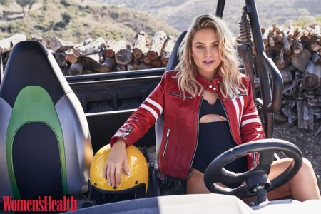 Actress Kate Hudson wears The Mighty Company jacket and Frankie's Bikinis one-piece