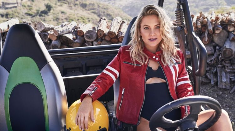 Actress Kate Hudson wears The Mighty Company jacket and Frankie's Bikinis one-piece
