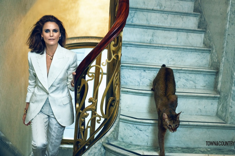 Suiting up, Keri Russell wears Dolce & Gabbana blazer and pants