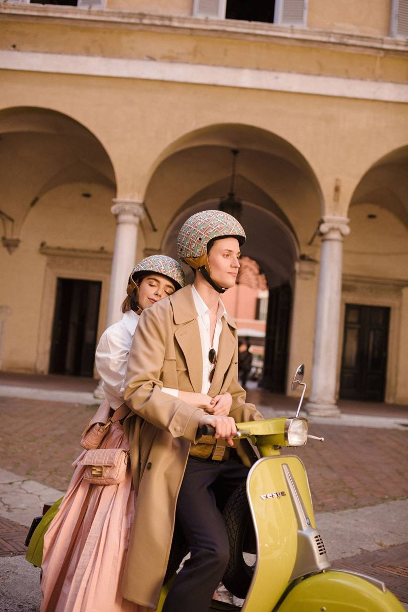 Christian Coppola and Kiernan Shipka ride a vespa for Fendi #BaguetteFriendsForever campaign