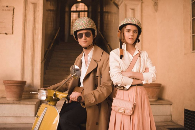 Christian Coppola and Kiernan Shipka pose in Rome for Fendi #BaguetteFriendsForever campaign