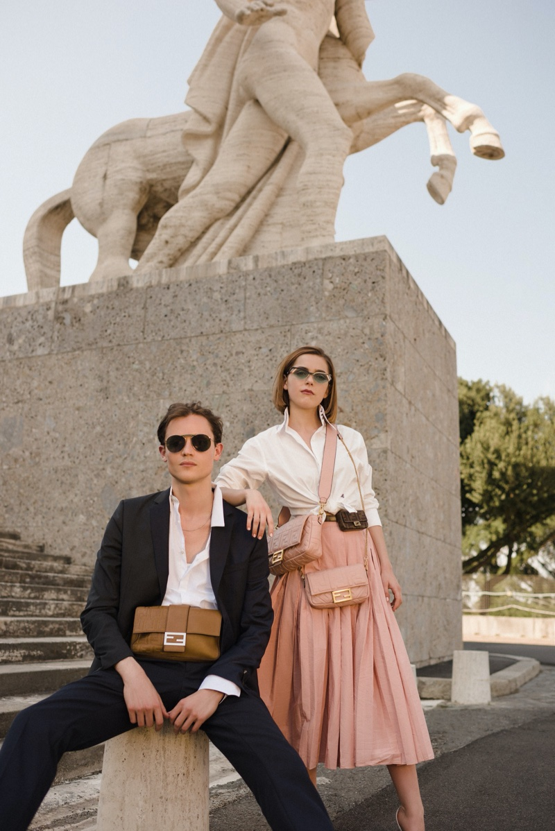 Kiernan Shipka poses with friend Christian Coppola in Fendi #BaguetteFriendsForever campaign