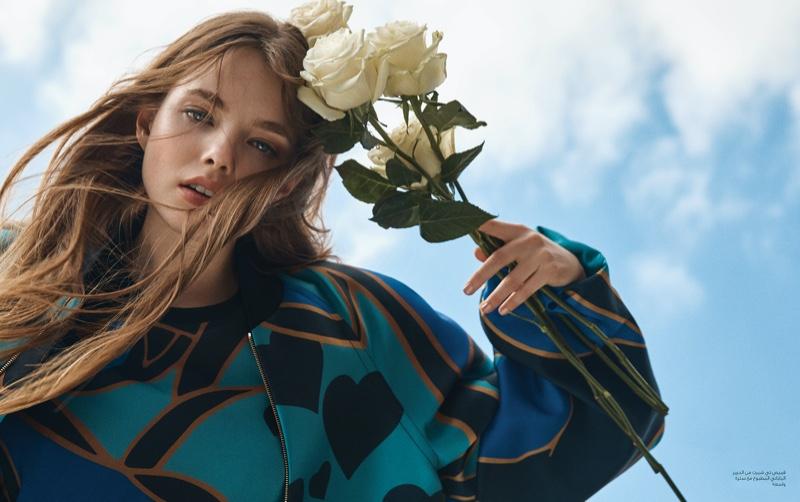 Photographed by Yossi Michaeli, Kristine Froseth wears Elie Saab dress