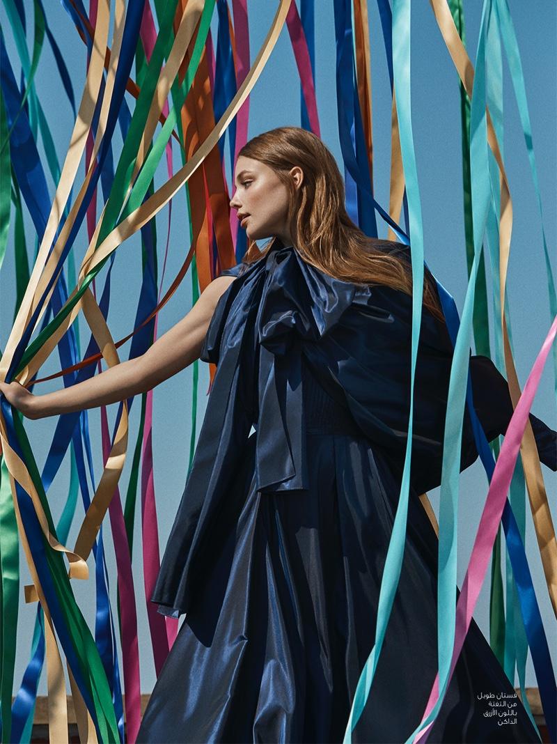 Kristine Froseth wears a dramatic look from Elie Saab