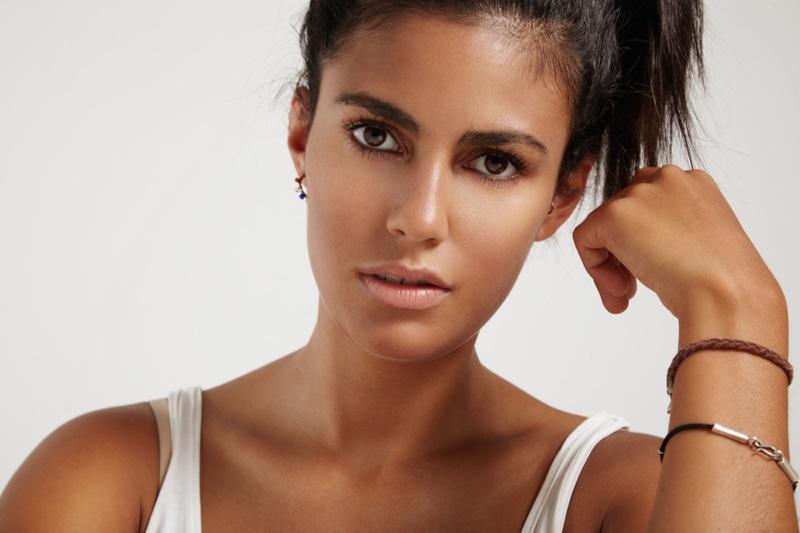 Latin Woman Beauty Messy Updo Bracelets