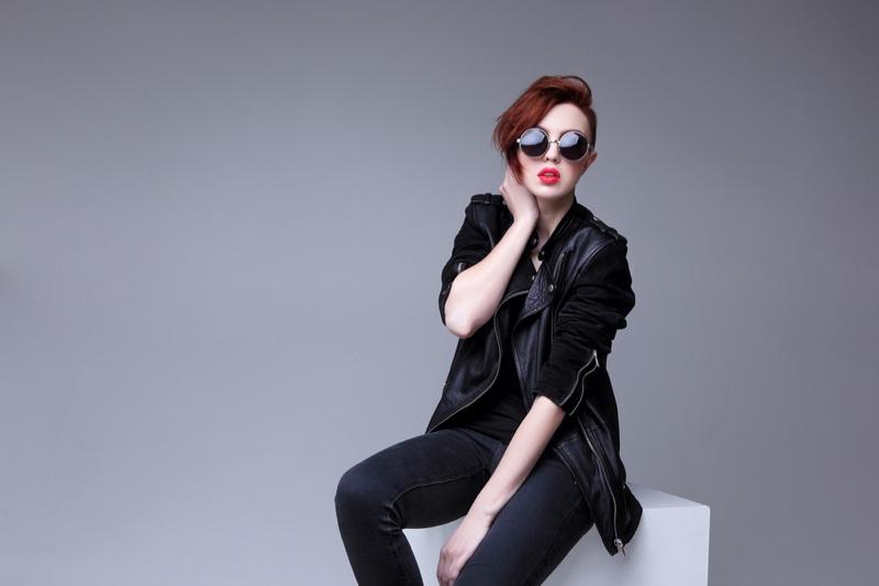 Leather Jacket Sunglasses Black Jeans Model