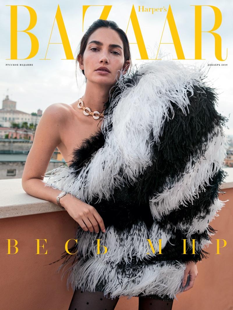 Lily Aldridge on Harper's Bazaar Russia December 2019 Cover