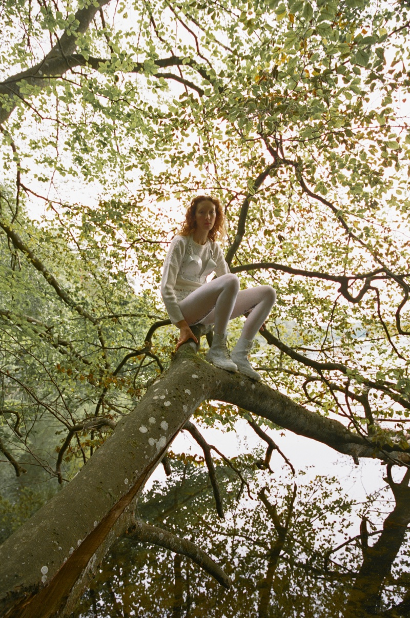 Lorna Foran Enchants in All White Styles for W Korea