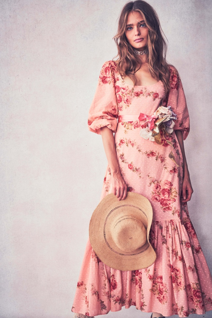 Anna Mila Guyenz poses for LoveShackFancy resort 2020 collection