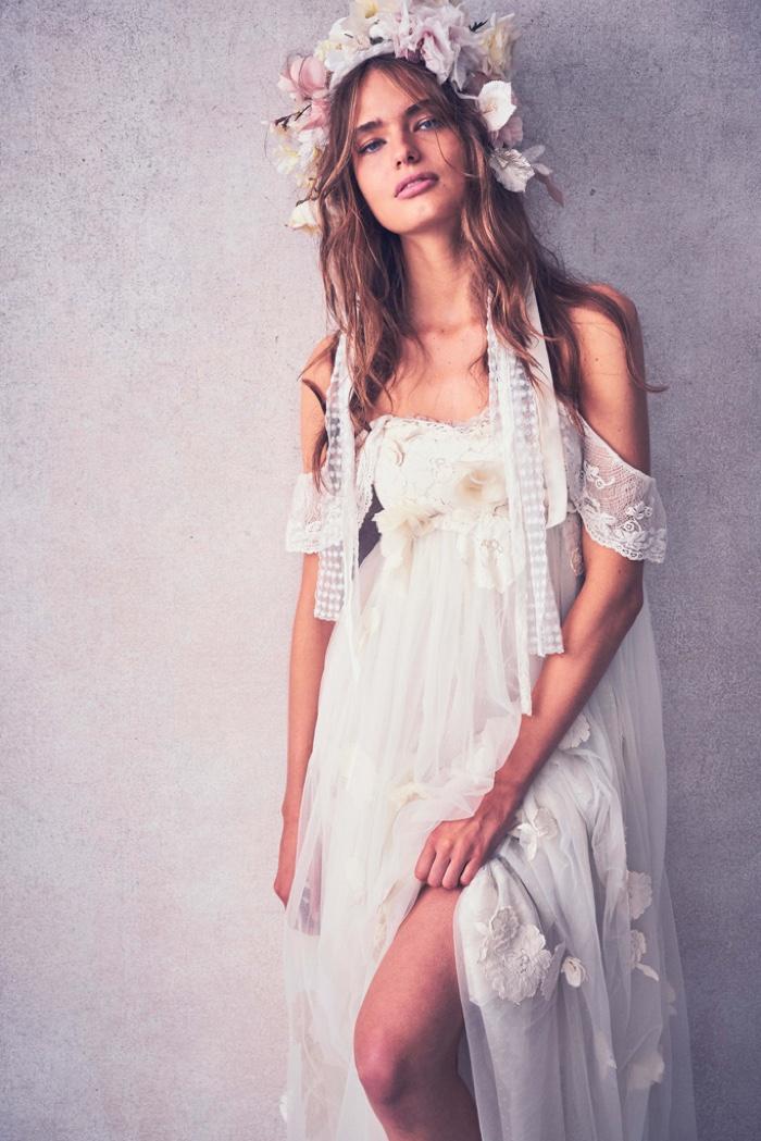 Anna Mila Guyenz models white dress from LoveShackFancy resort 2020 collection