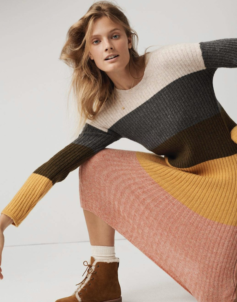 Madewell Colorblock Midi Sweater Dress in Coziest Yarn $118 and The Clair Lace-Up Boot in Shearling-Lined Suede $228