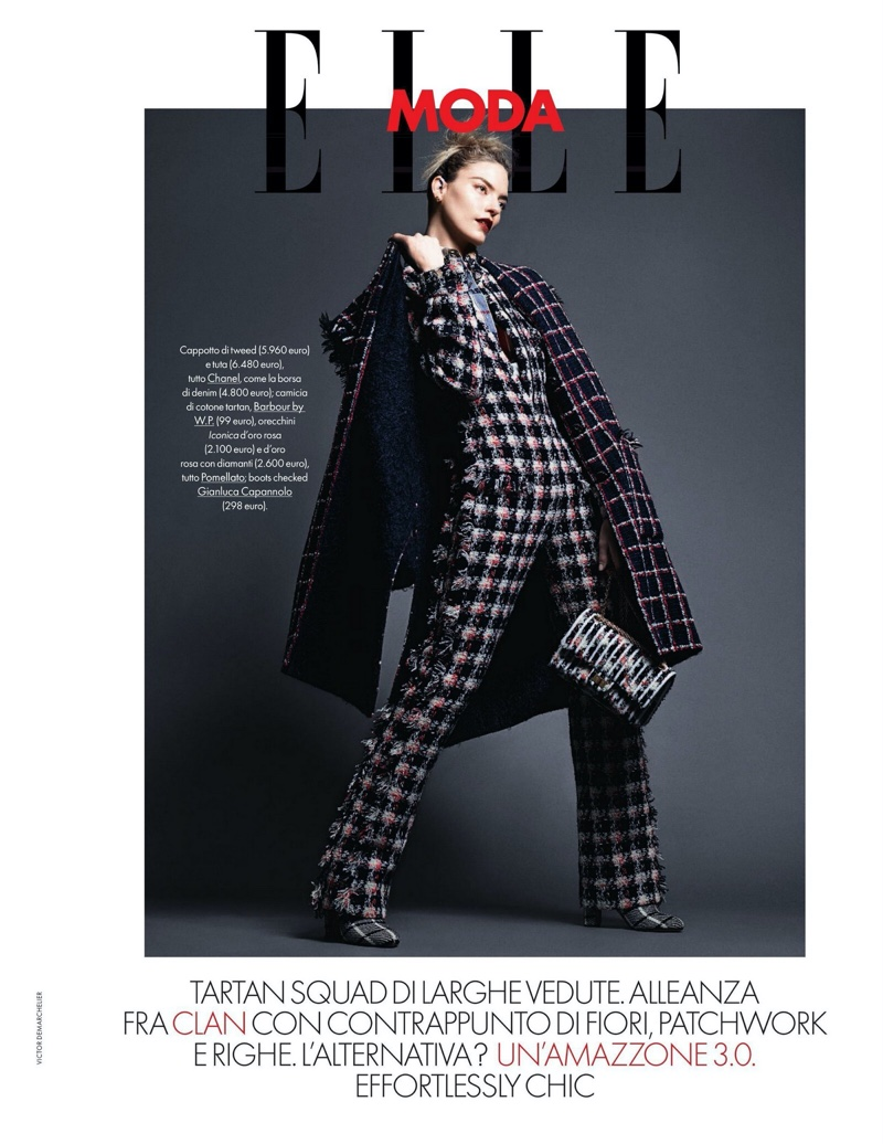 Martha Hunt Makes a Statement in Plaid Prints for ELLE Italy