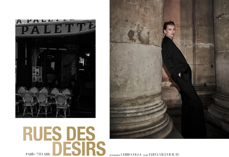 Edita Vilkeviciute stars in Massimo Dutti Rue Des Desirs fall-winter 2019 lookbook