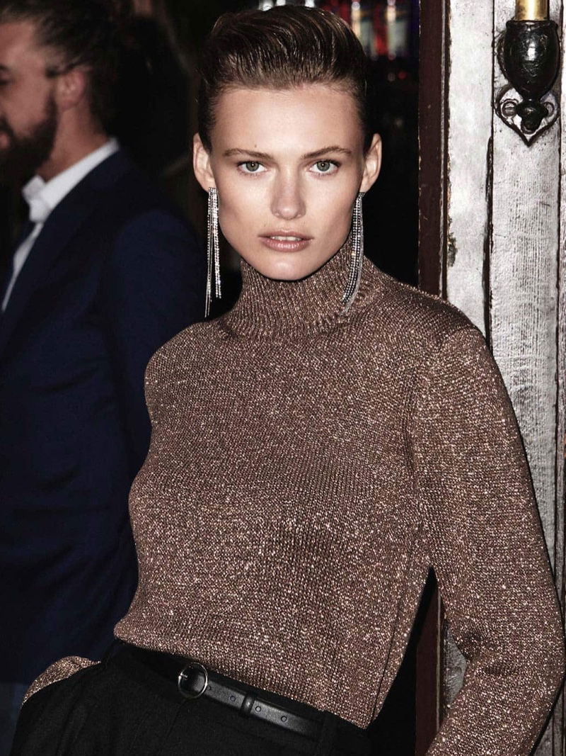 Massimo Dutti Metallic Thread High Neck Sweater, Black Wool Culottes and Shiny Cascading Earrings