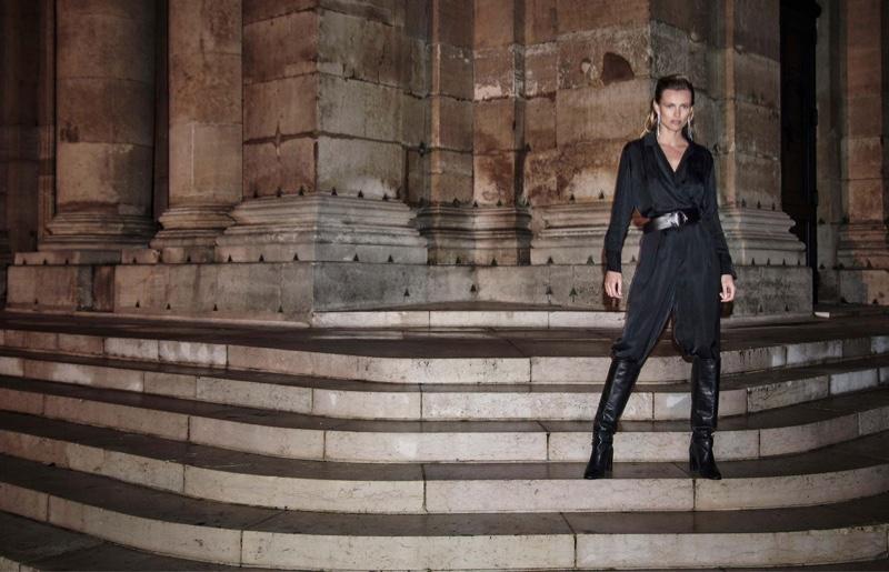 Dressed in black, Edita Vilkeviciute fronts Massimo Dutti Rue Des Desirs fall-winter 2019 lookbook