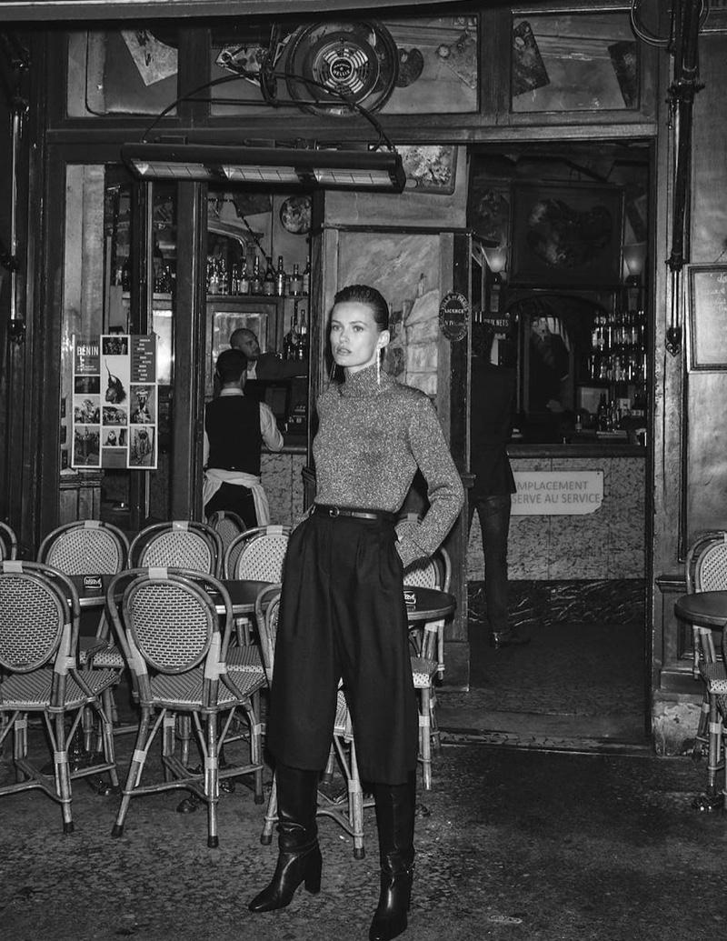 Edita Vilkeviciute poses in Paris for Massimo Dutti Rue Des Desirs fall-winter 2019 lookbook