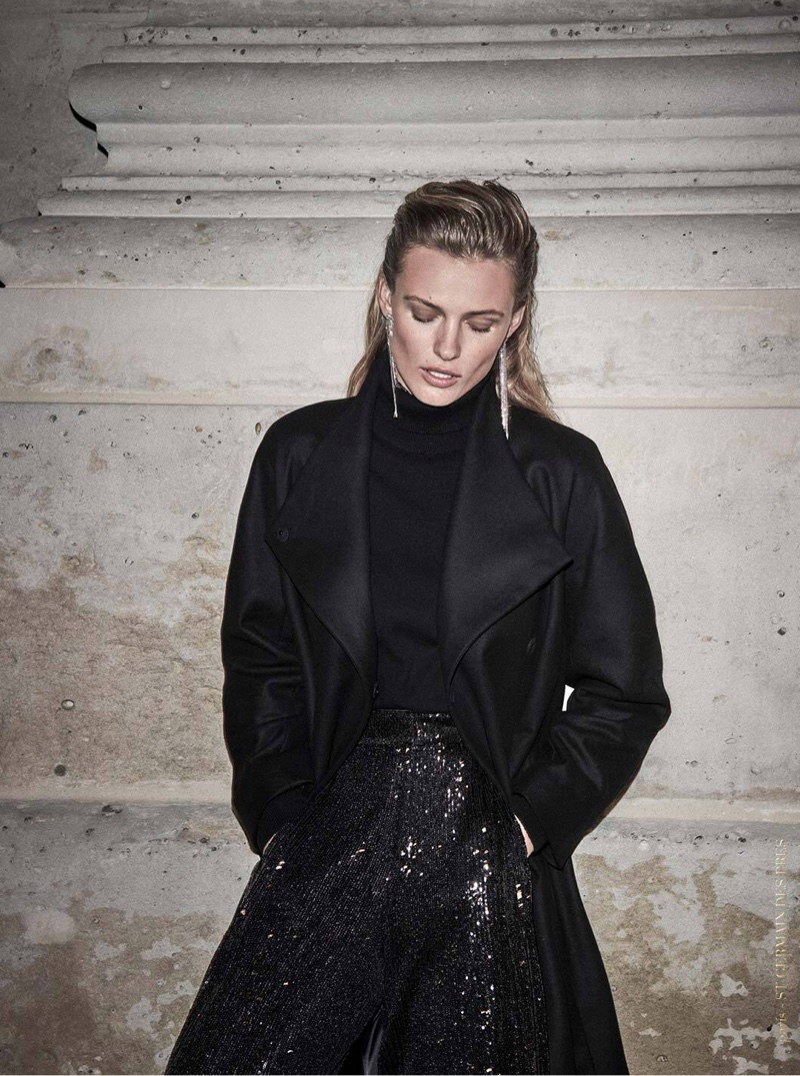 Massimo Dutti Black Wool Coat with Tie Belt, Wool High Neck Sweater, Black Straight Fit Sequined Trousers and Shiny Cascading Earrings