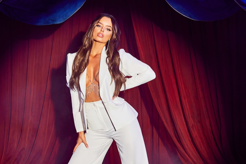 Suiting up, Maura Higgins poses for Boohoo fashion shoot