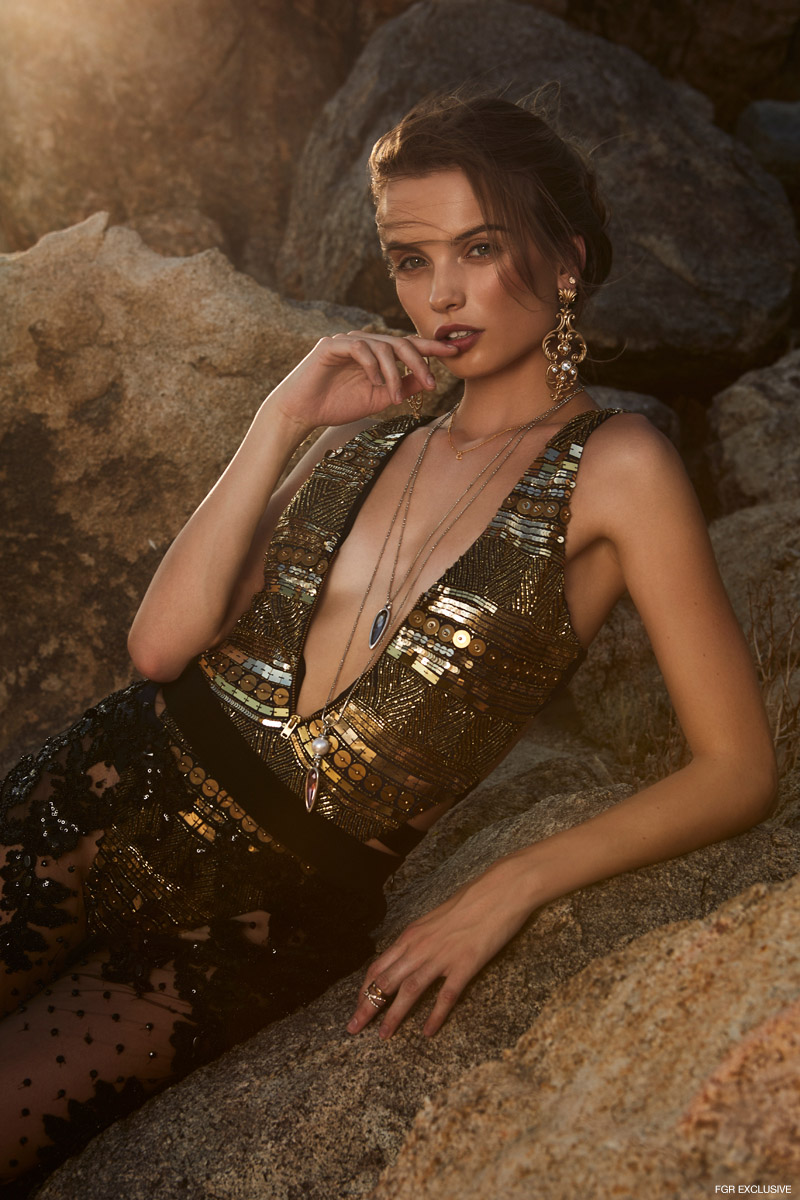 Embellished Swimsuit Flirtatious, Earrings RAAD KERR, Necklaces UNOde50, Pants Amen Couture and Rings Vintage. Photo: Emily Teague