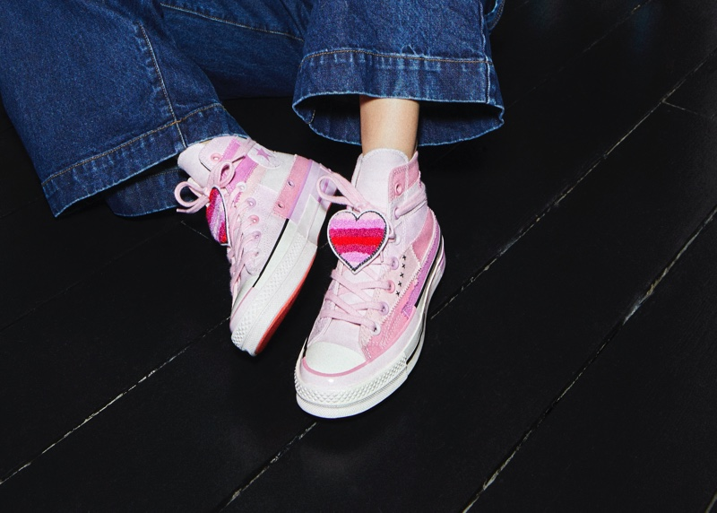 Pink sneakers designed by Millie Bobby Brown for Converse