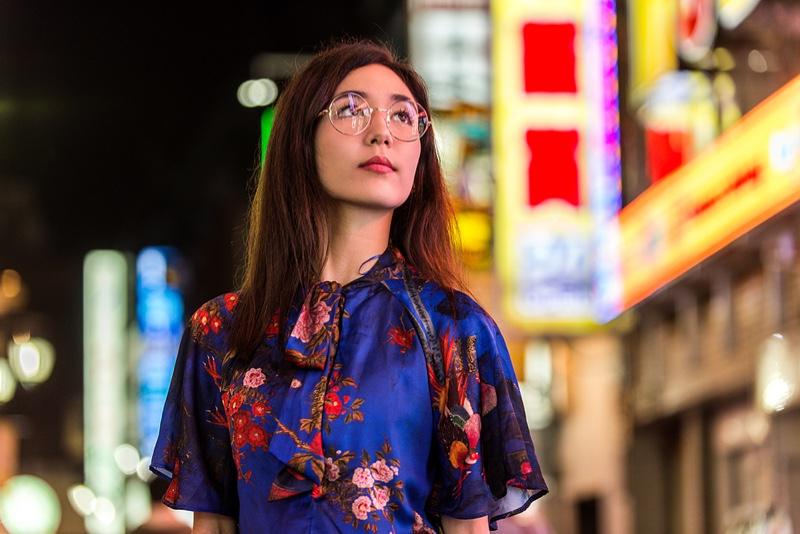 Mix Asian Model Street Neon Signs Floral Print Dress