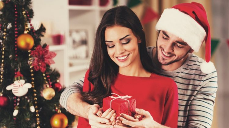 Model Couple Christmas Tree Santa Hat Gift