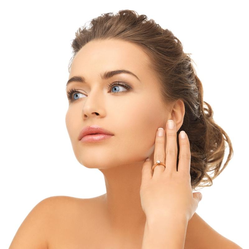 Model Diamond Engagement Ring Beauty