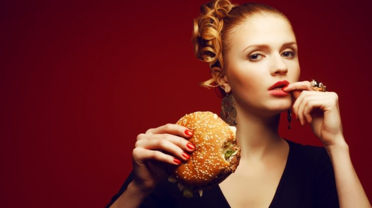 Model Fashion Cheeseburger Food Red Nails