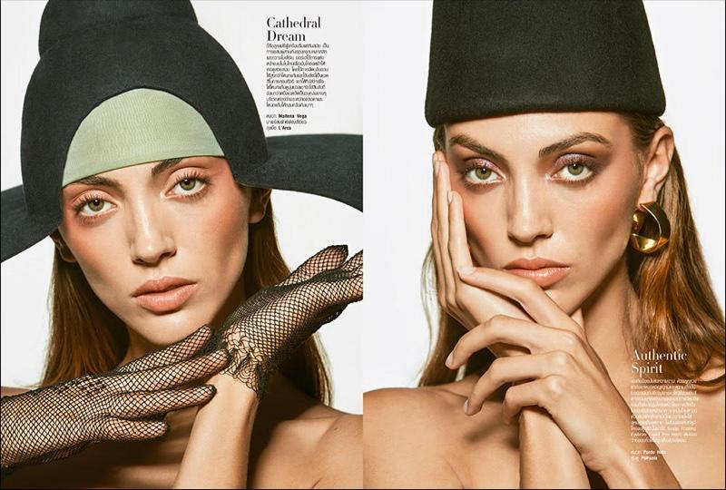 Neus Bermejo Models Glam Beauty for Harper's Bazaar Thailand