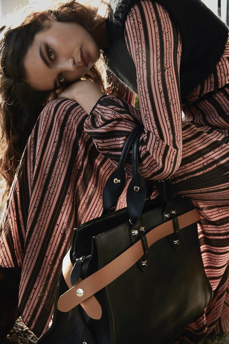 Noortje Haak Poses in Longchamp for Marie Claire Netherlands