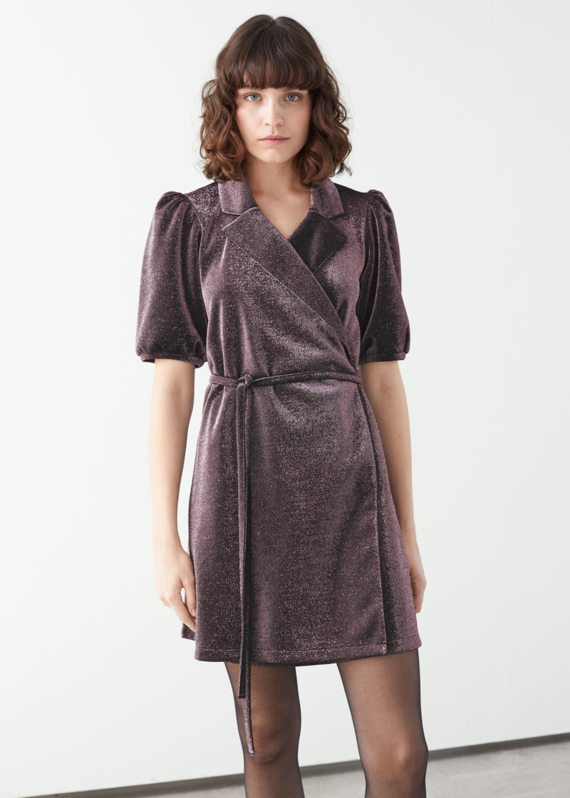 & Other Stories Belted Glitter Mini Wrap Dress $89